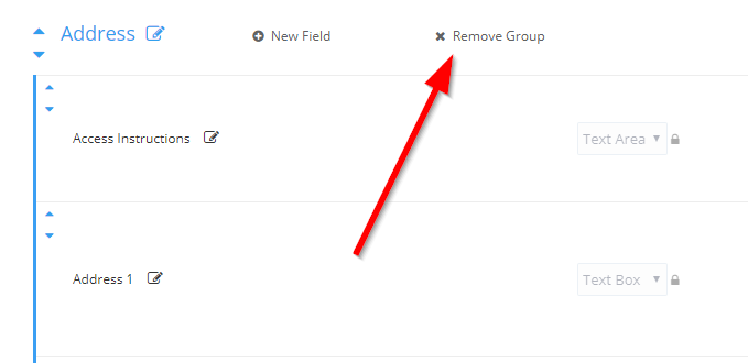 Delete Existing Group From Fields
