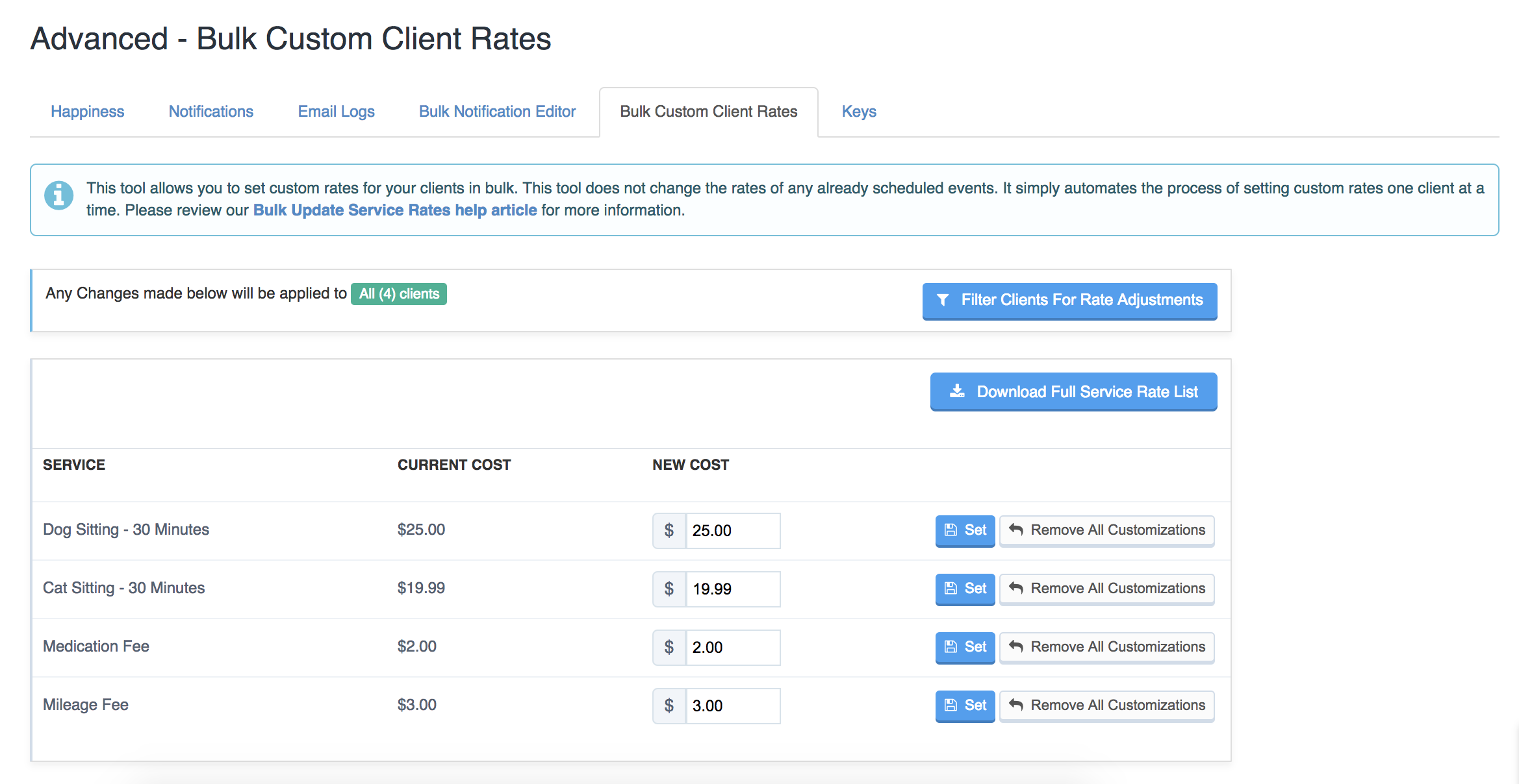 View of the Bulk Custom Client Rates screen