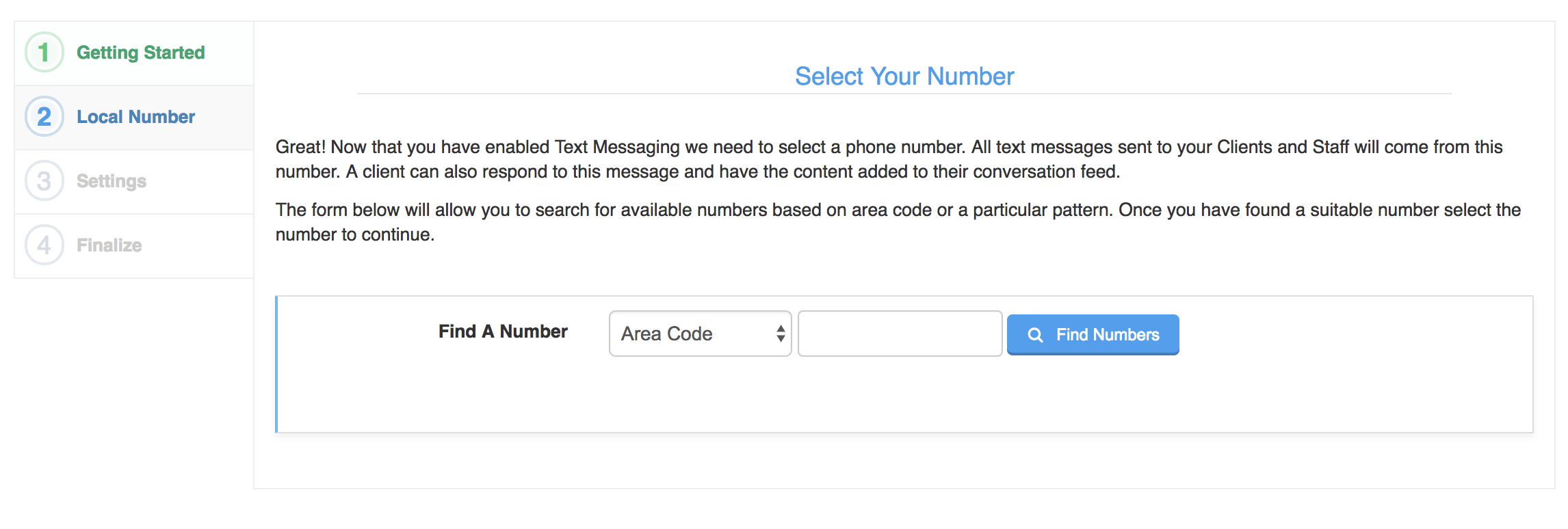 Selecting your text messaging number