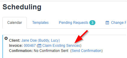 Image of a client service order with an arrow pointing to the claim existing services option in the upper left hand corner