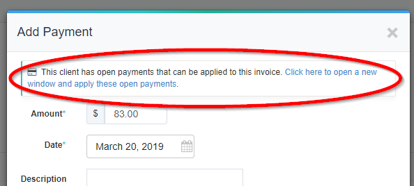 add payment pop up window with a red circle highlighting the option to apply the open payment to the client's invoice