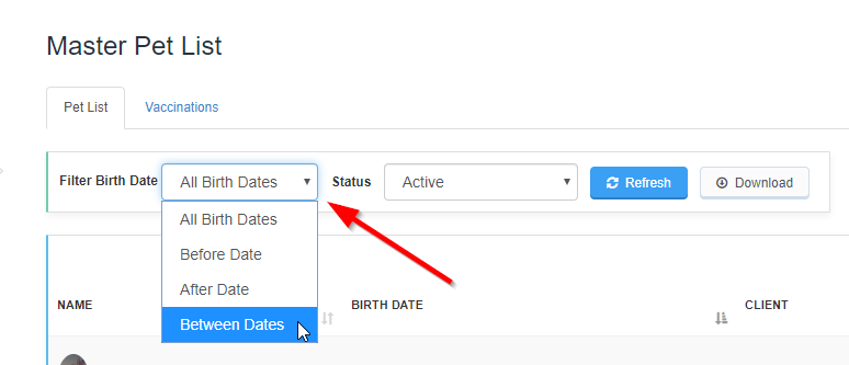 Export Pet Data - Select Birth Date Filter