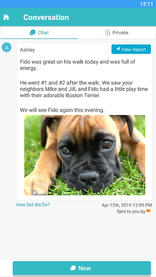 View of the conversation feed in the Time To Pet mobile app