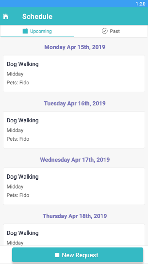 View of the Schedule section in the Time To Pet mobile app