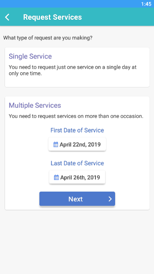 View of submitting request for multiple services in Time To Pet mobile app