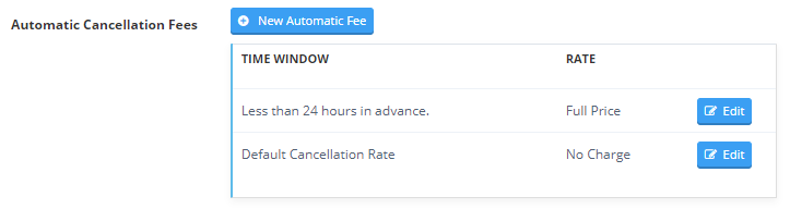 Image of automatic cancellation fee setting in invoice settings under the invoices tab