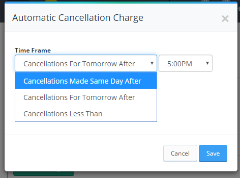 automatic cancellation charge pop up window showing the dropdown menu options for the cancellation time frame
