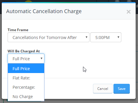 automatic cancellation charge pop up window showing the dropdown menu options for the cancellation charge