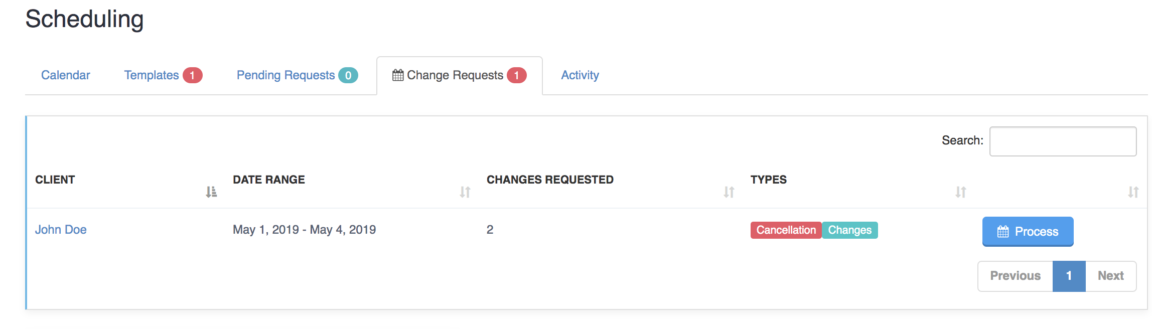 Processing Change And Cancellation Requests - Change/Cancelation Requests against specific visits