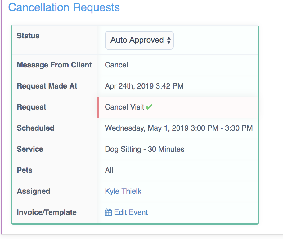 Processing Change And Cancellation Requests - Auto approval
