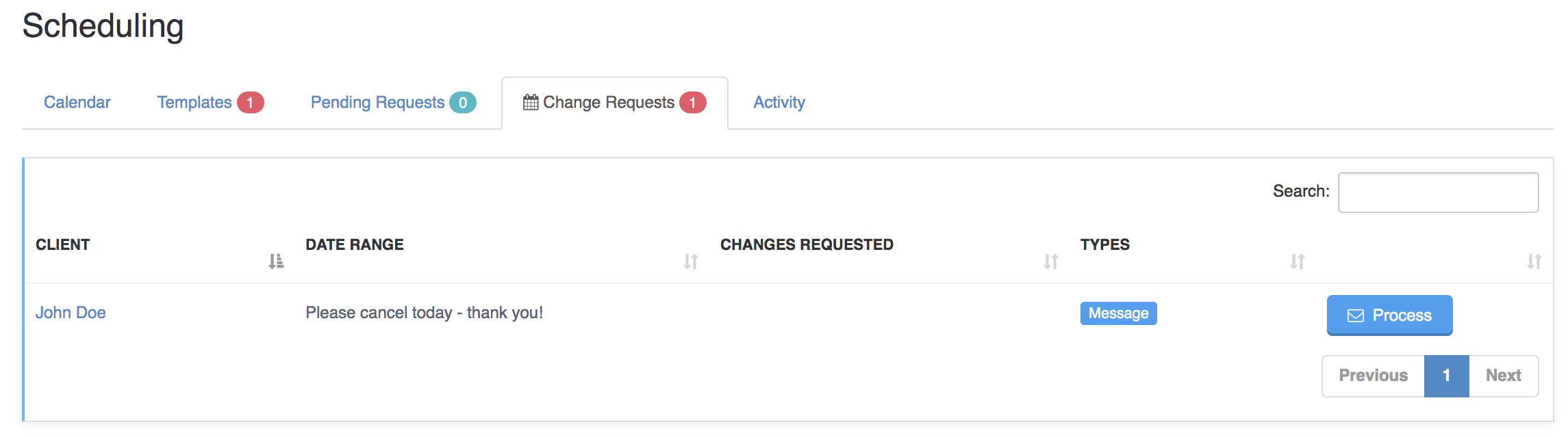 Processing Change And Cancellation Requests - Client Sends General Message