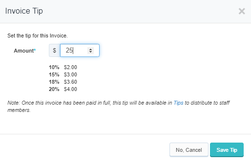 Invoice Tip pop up window with option to edit tip amount