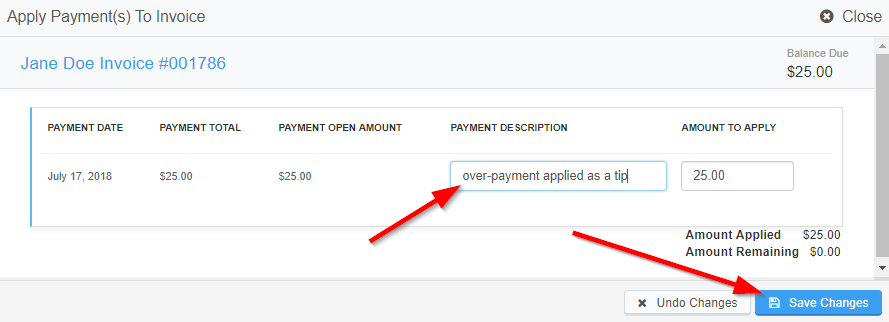 "Image of ""Apply Payments To Invoice"" pop up window with option to edit the amount to apply to the invoice and an arrow pointing to the Save Changes button"