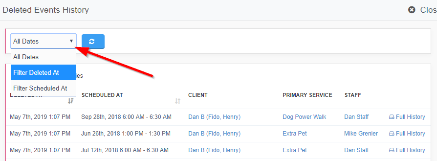 Deleted event history list with an arrow pointing to the filter dropdown menu