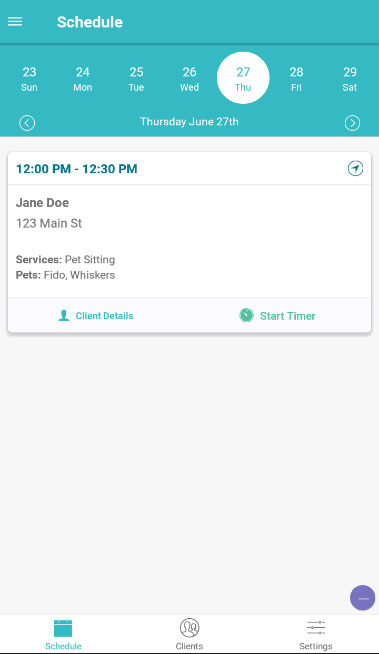 Time To Pet Mobile App - Schedule screen
