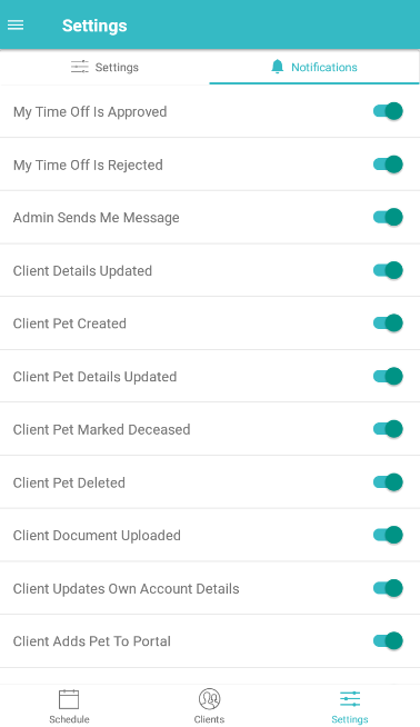 Time To Pet Mobile App - setting screen