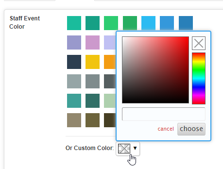 Select pre-defined color or custom color