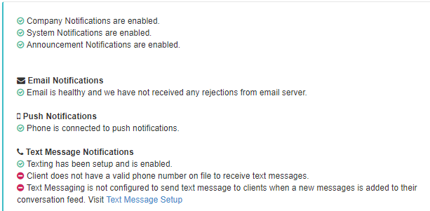 log of client notification diagnosis showing email, push, and text message notifications