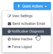 Quick Actions menu on staff profile with cursor highlighting the notification diagnosis tool