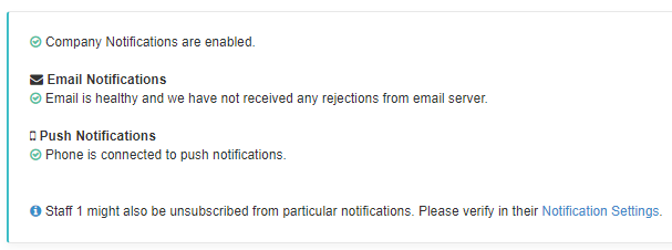 log of staff notification diagnosis showing email, push, and text message notifications
