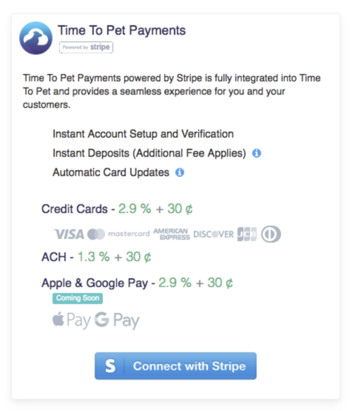 """Time To Pet Payments"" section and click the ""Connect with Stripe"" button:"