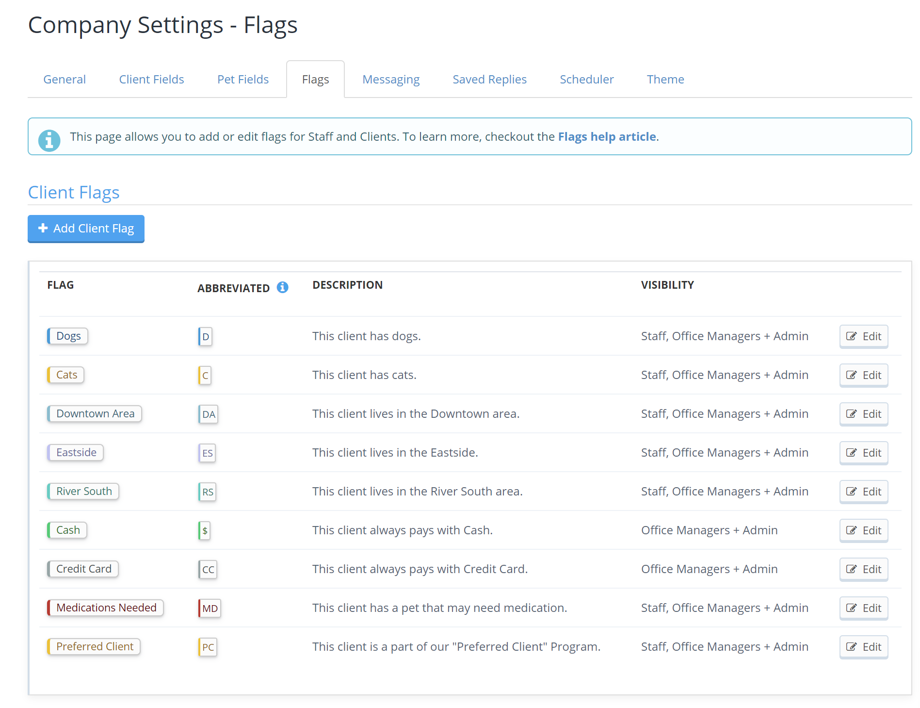List of all current Flags in Company Settings, select 'Add Client Flag'