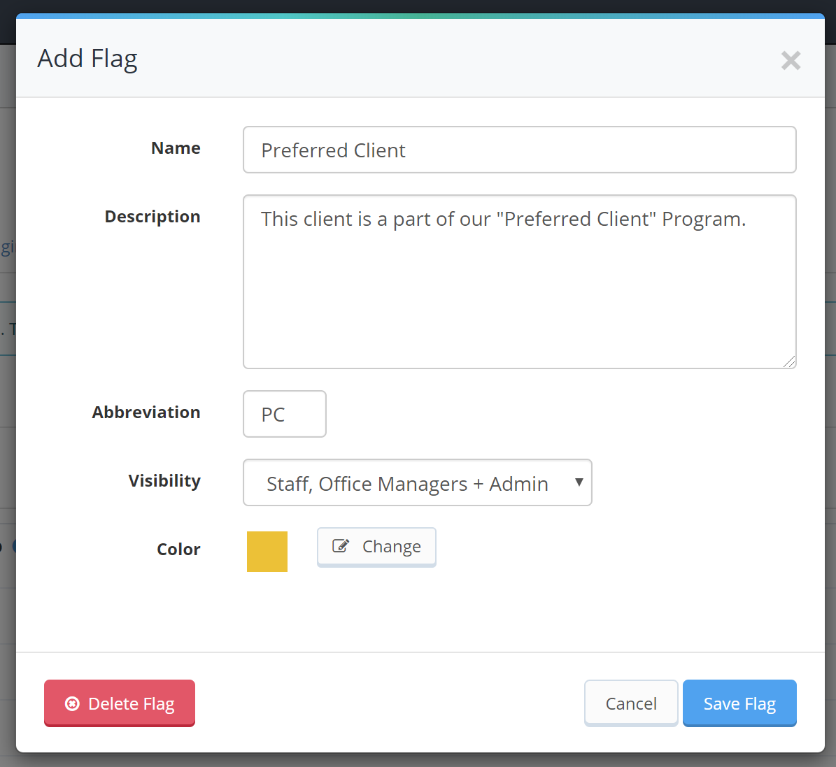 Add Flag name, description, abbreviation visibility setting and color