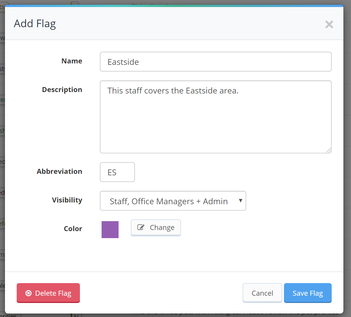 Staff flags are similar to client flags, add a name, description, abbreviation and color