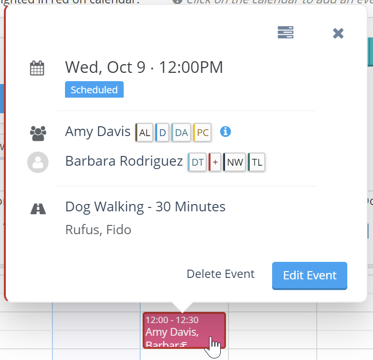 View client and staff flags when clicking on individual event from scheduler screen