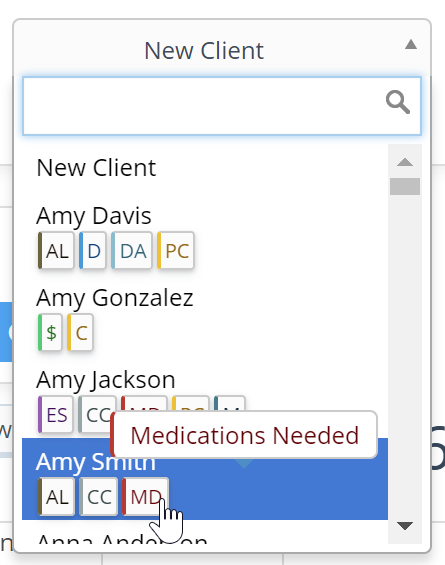 Flags can be viewed when creating new service order for client, hover over flag abbreviation to display
