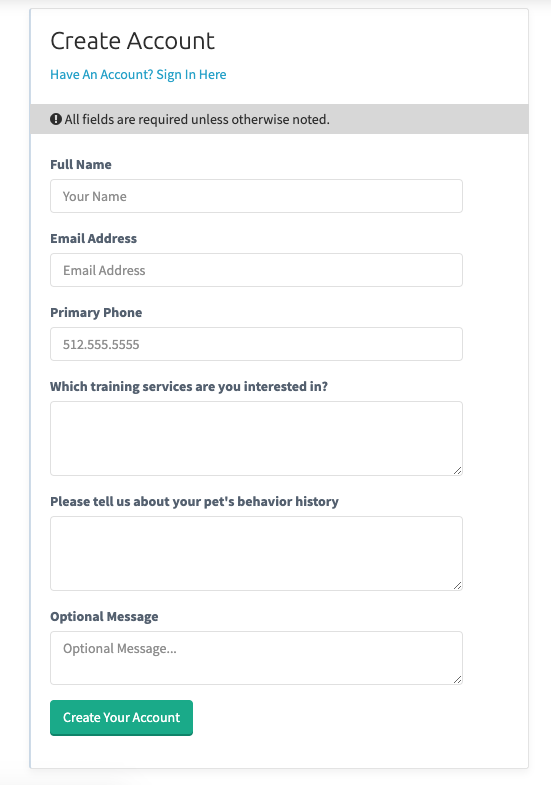 View of custom new client intake form