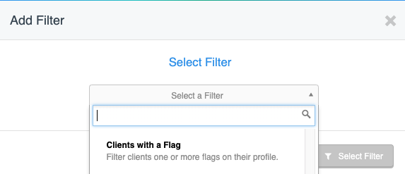 View of sample filter option in message center