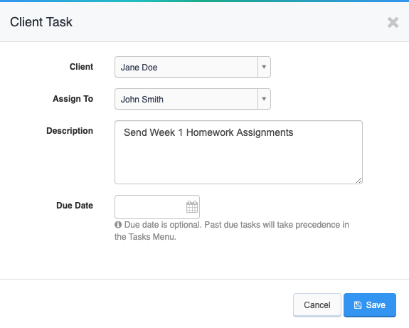 View of sample task on a client's account