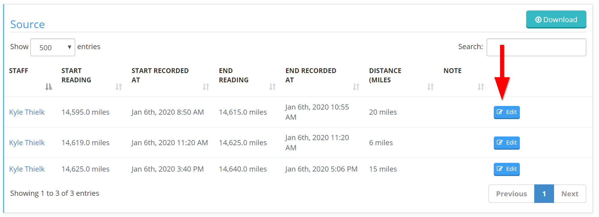 Time and Mileage Tracking - Select Edit to edit the report data