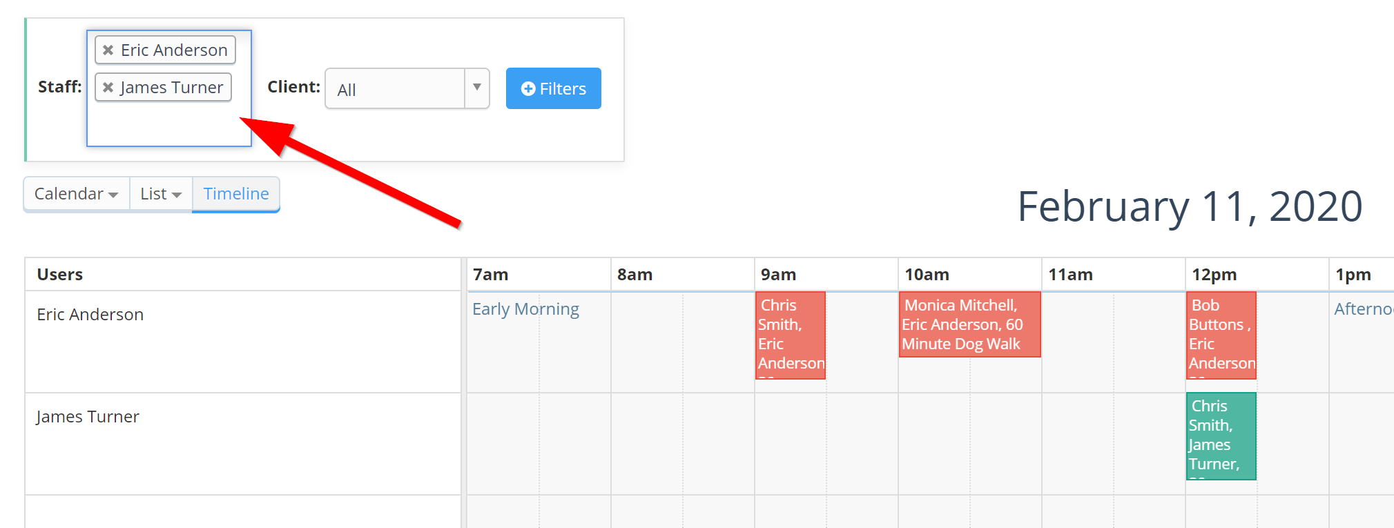 View of the Staff Filter in the Timeline View on the Scheduler