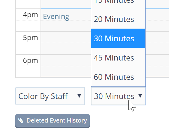 Change the Calendar Interval by clicking on the time incrament dropdown in the lower left hand corner of Timeline View