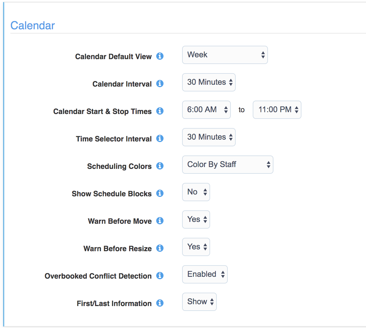 Scheduler Settings - Configure the calendar