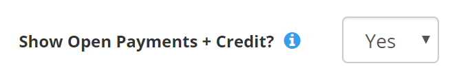 show open payments + credit option in client settings - portal settings