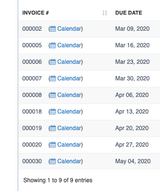 "Open existing invoice in calendar view for scheduling by clicking ""Calendar"" link next to an invoice number"