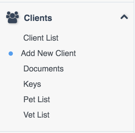 """Clients"" dropdown menu on Dashboard with ""Add New Client"" selected"