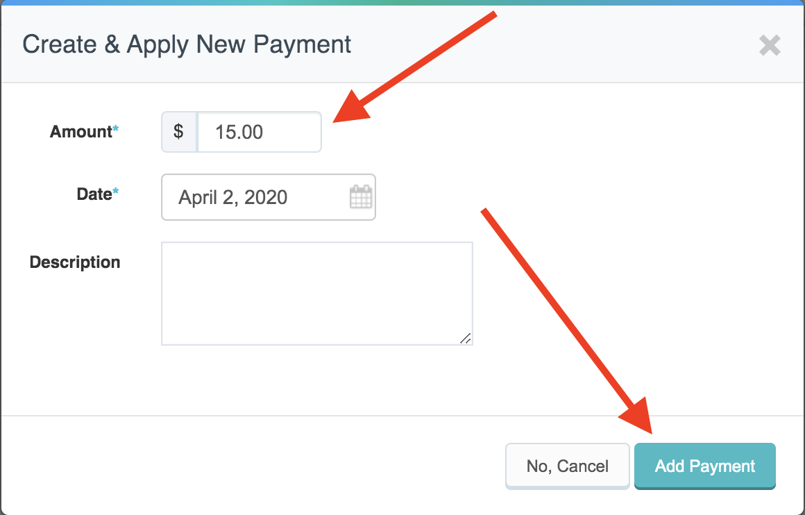 Create & Apply New Payment screen with arrows pointing to the amount for the payment and the Add Payment button at the bottom of the screen