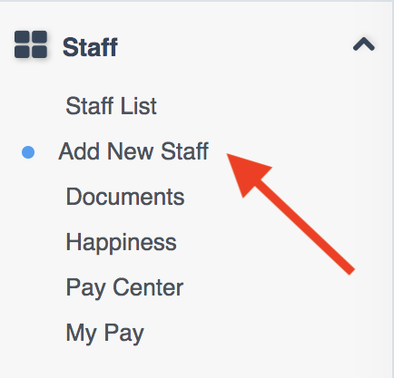 "Staff menu on Dashboard with an arrow pointing to ""Add New Staff"" option"