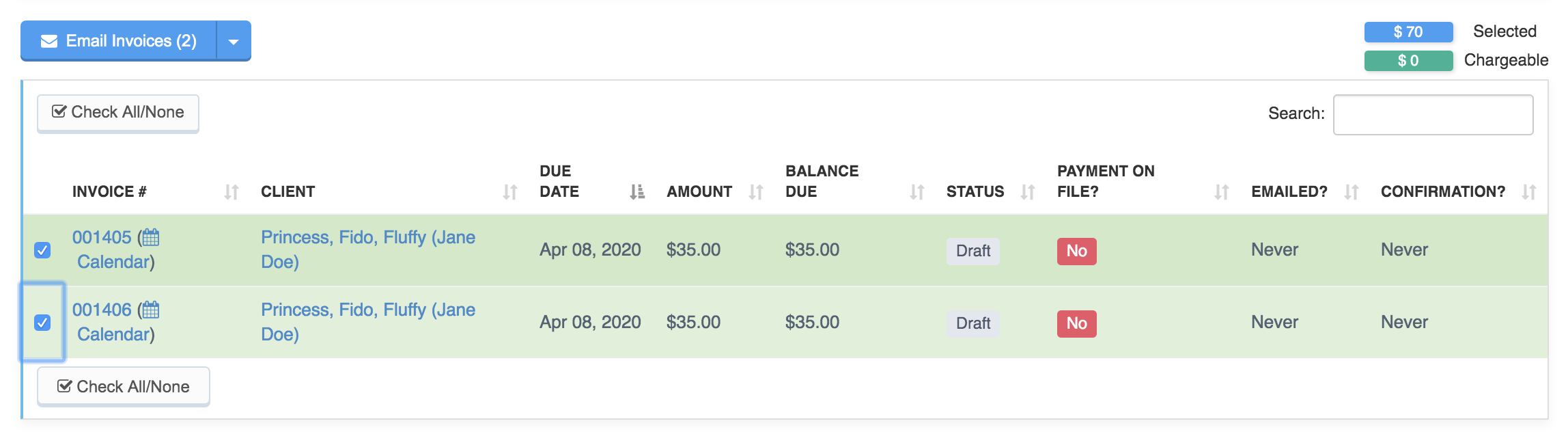 Invoice list on Bulk Invoicing tab with two invoices selected to perform bulk actions