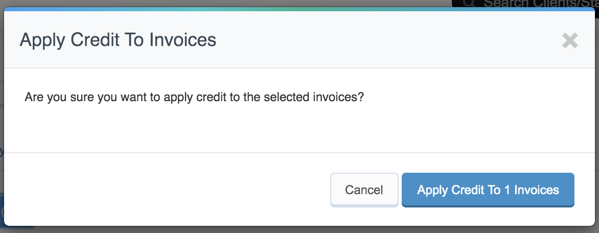 Pop up window to apply credit to open invoice
