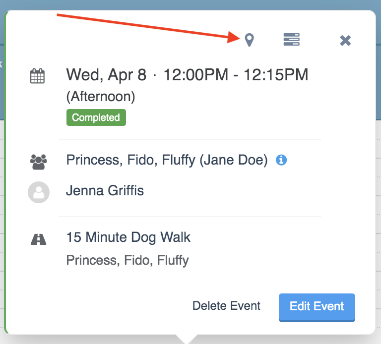 Quick Info popup after clicking on an event on the Scheduler with an arrow pointing to the location pin icon