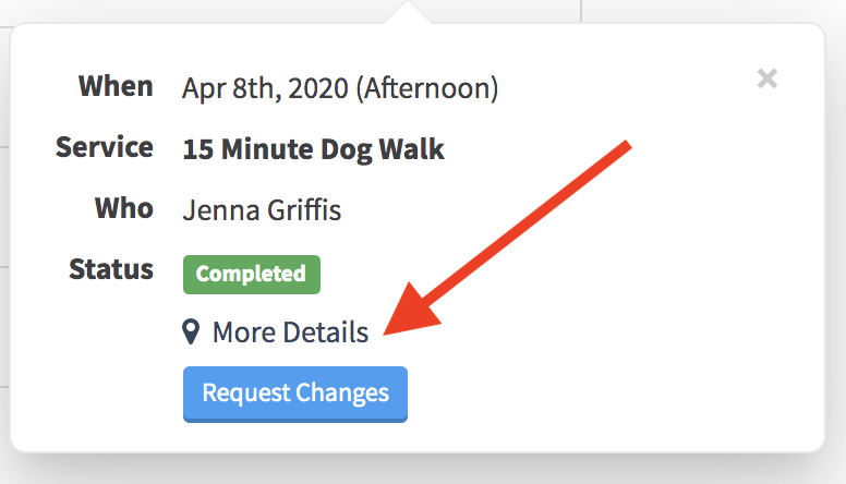 Quick Info popup after selecting scheduled event in Client Portal with an arrow pointing to the More Details button to show time and GPS data