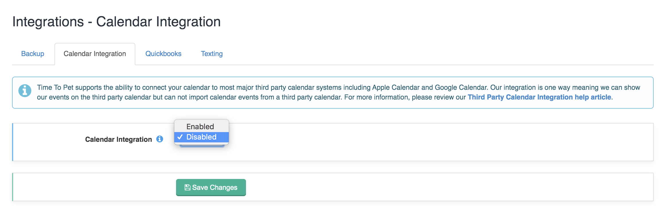 Integrations in settings under the Calendar Integration tab