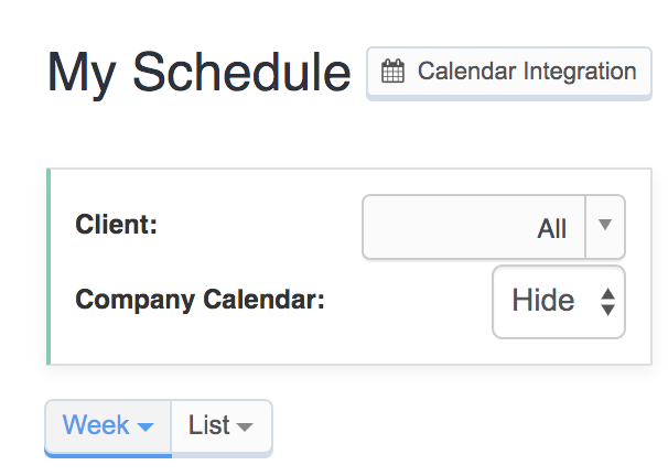 My Schedule page in staff dashboard with calendar integration button