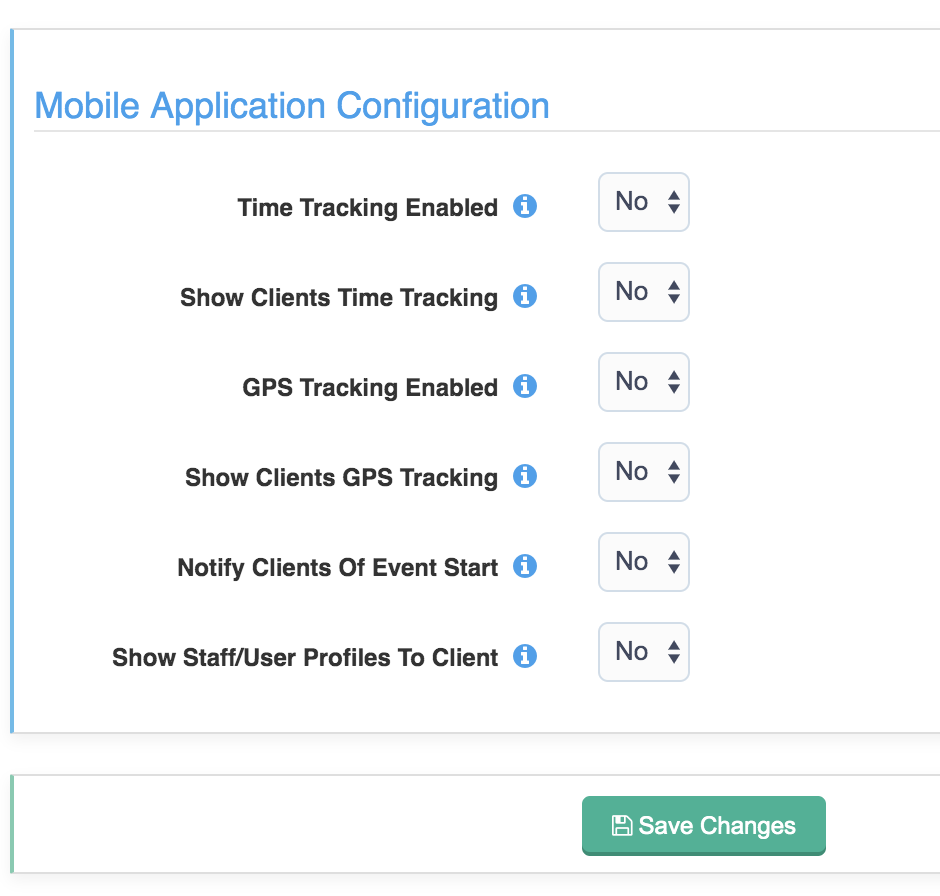 Image of mobile application configuration settings