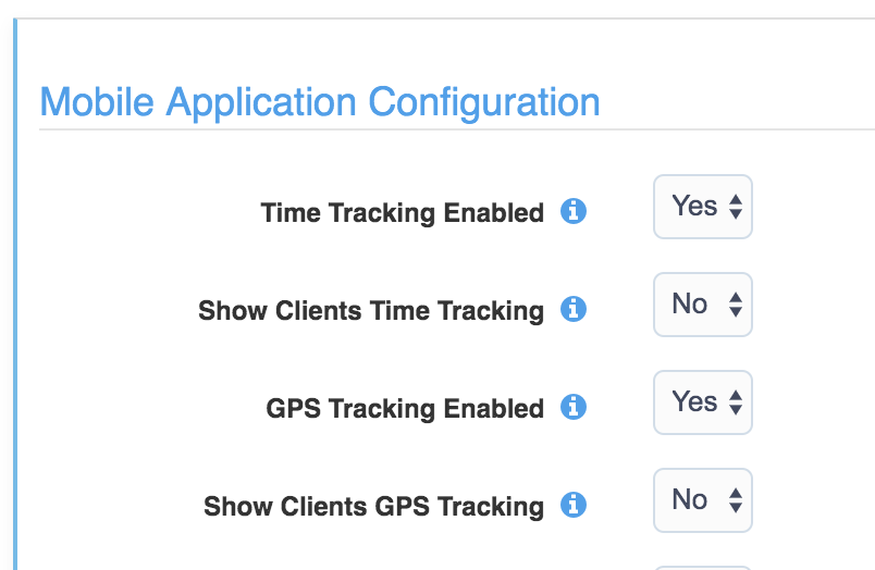 Image of Mobile App configuration settings with time tracking and GPS enabled